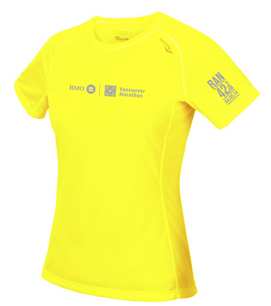 2014 BMO Vancouver Marathon Saucoy Tech Shirt