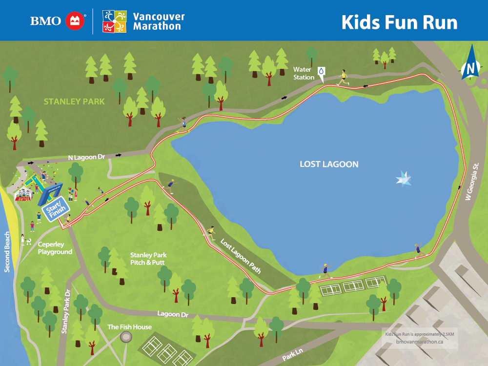 BMO Vancouver Marathon Kids Run Course Map